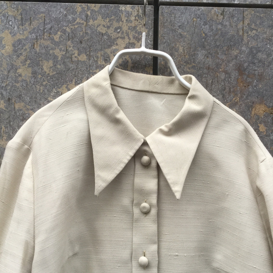 Beige Cotton Mix Vintage Shirt Special Button Size M/L