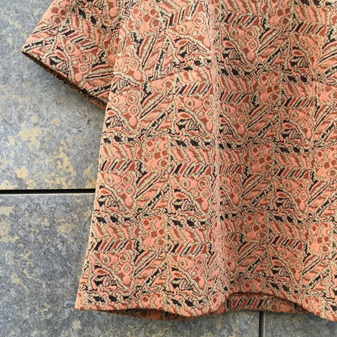 Gold-Rose Polyester Vintage Vintage Top SS Square Neck Size M/L