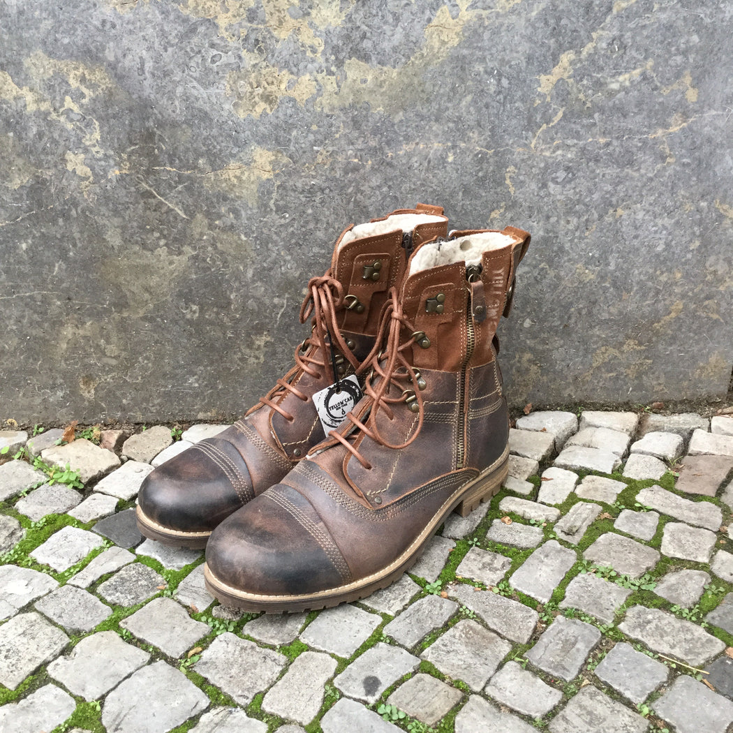 Brown Leather Yellow Cab Boots  Size 46