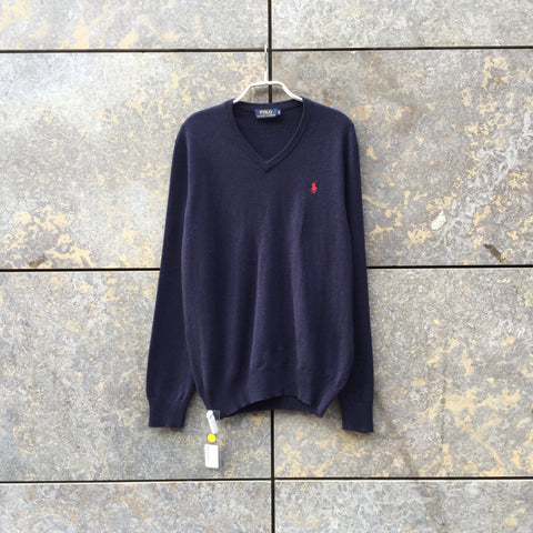 Midnight Blue Wool Polo Ralph Lauren Sweater V-neck Size S/M