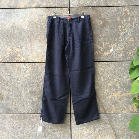 Midnight Blue Linen Hugo Boss Straight Fit Pants  Size 30