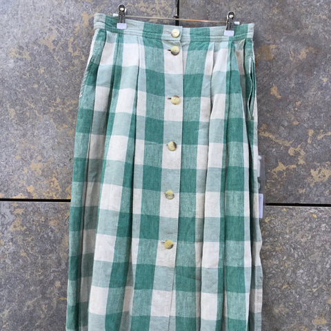 Light Gray-Faded Green Cotton / Linen Mix Vintage Maxi Skirt Slit Panel Button Through Size 30/31