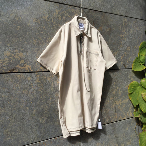 Beige Polyester Modern Contemporary Shirt Dress Zippered Chain Detail Size S/M