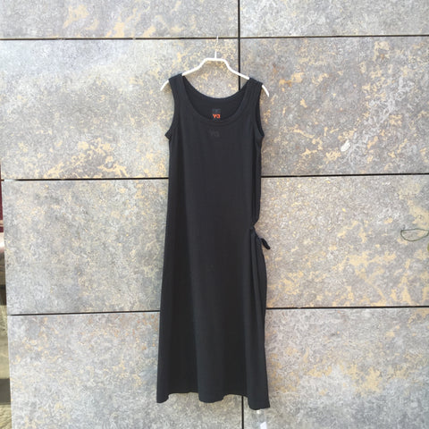 Faded Black Cotton Y-3 Tank Dress Draw String Size S/M