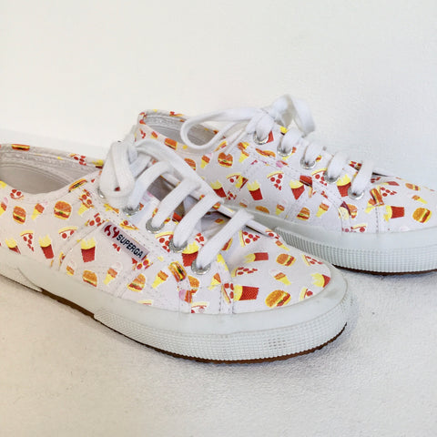 White-Red Canvas Superga Sneakers  Size 37
