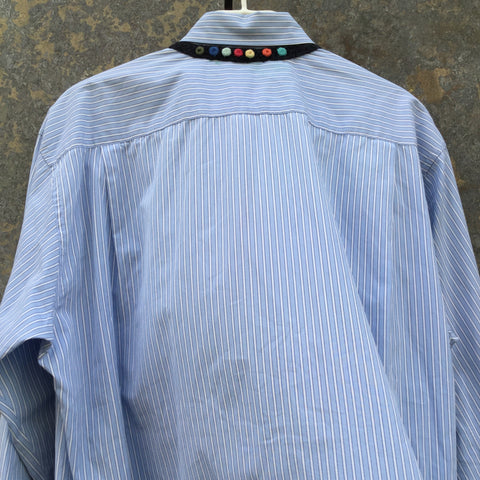 Pastel Blue-White Cotton Comme Des Garcons - Shirt Boys Shirt Conceptual Detail Size M/L