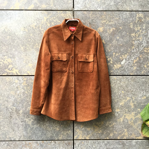 Nude Brown Suede Vintage Shirt  Size M/L