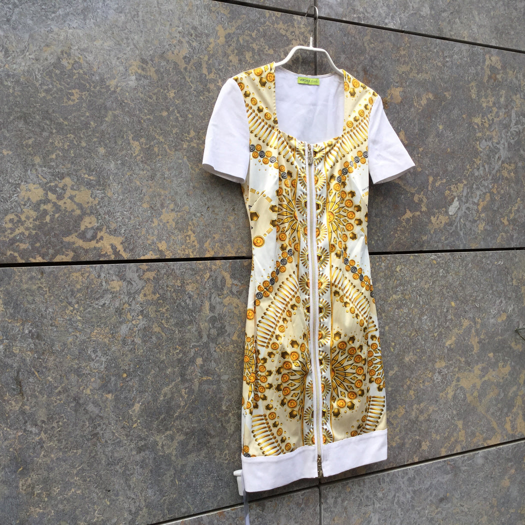White-Gold Polyester Mix Versace Jeans Couture Body Con Zippered Size Xxs