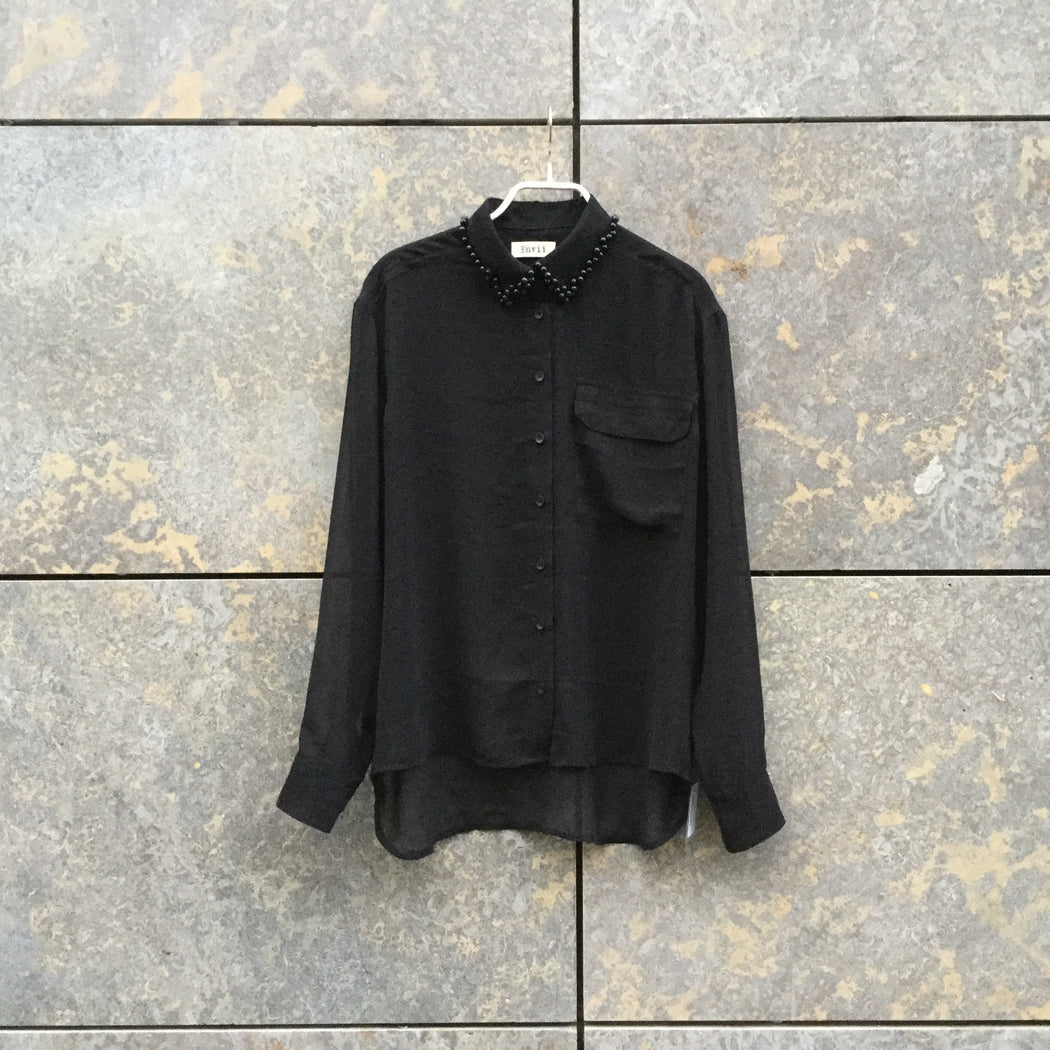Black Polyester Modern Contemporary Main Shirt  Sheer Size S/M