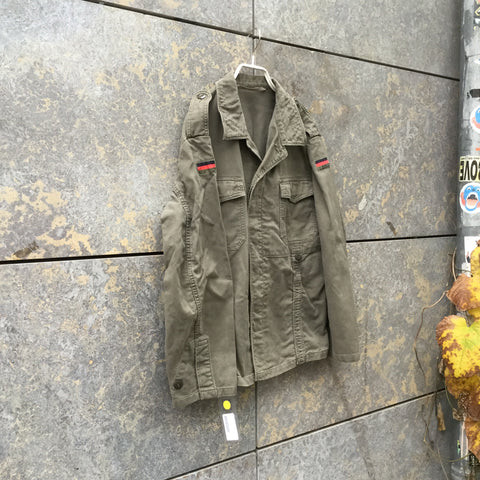 Pale Green Cotton Vintage Military/cargo Jacket Multi Pocket Size M/L