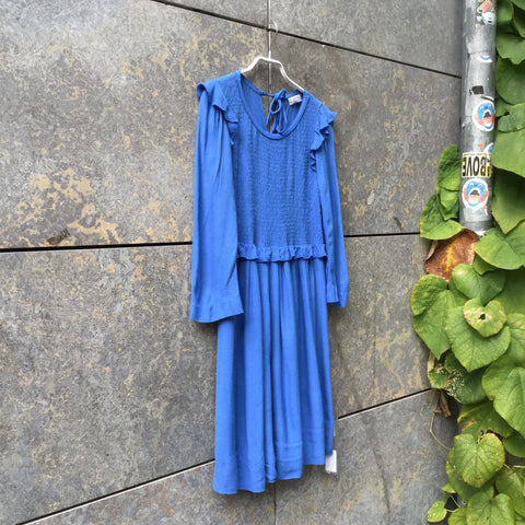 Deep Blue Rayon Sonia By Sonia Rykiel Dress Ruffled Ruched Size S/M