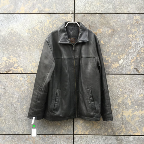 Black Leather Vintage Leather Jacket Stitching Detail Oversized Size S/M