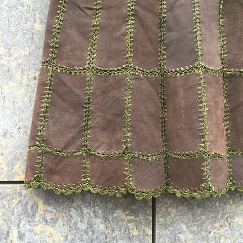 Dark Olive Leather/Synthetic Mix Directional Vintage Mini Skirt  Size 28/29
