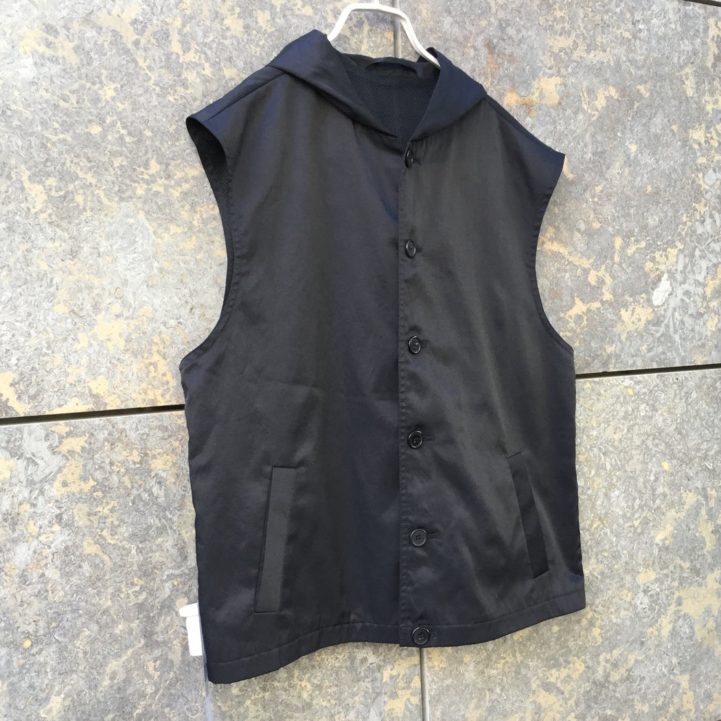 Black Cotton / Poly Mix Independent Long Vest Hoody Size M