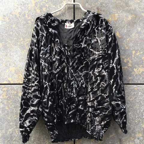 Black-Silver Synthetic Vintage Windbreaker  Size S/M