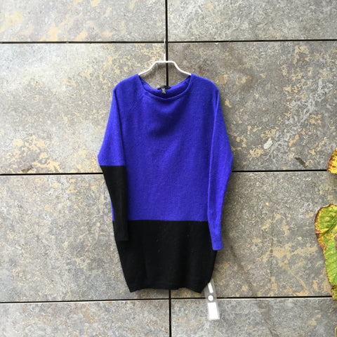 Royal Blue-Black Cashmere Contemporary Main Sweater Dress Batwing Size S/M