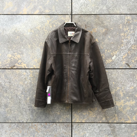 Chocolate Leather Vintage Leather Jacket Oversized Boxy Size L/XL