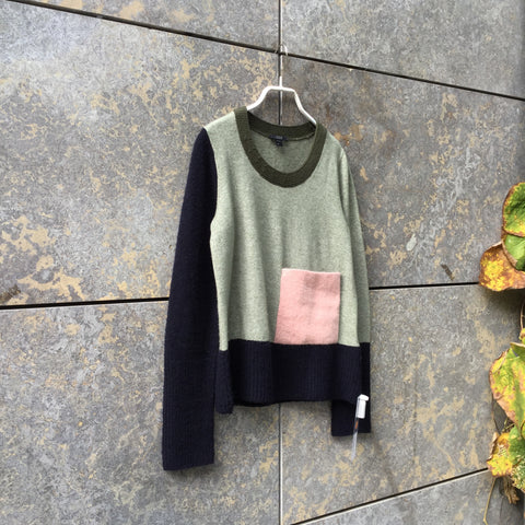 Midnight Blue-Pale Green Cotton COS Light Sweater Pocket Detail Size XS/S