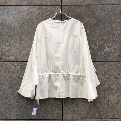 White Cotton See By Chloé Blouse Draw String Ruffled Size L/XL