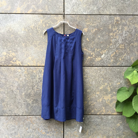 Blue Polyester Modern UniQlo Dress Pleated Size M/L