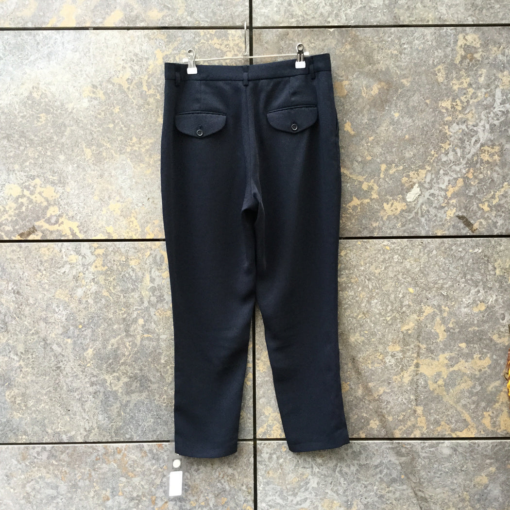 Midnight Blue Polyester Modern Kerber Trousers Cropped Pants Size 34