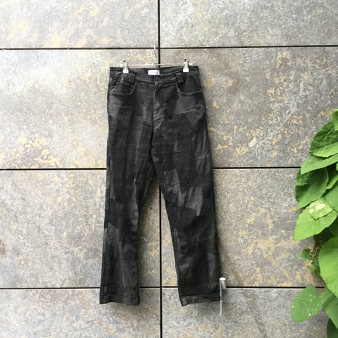 Black-Dark Grey Cotton / Poly Mix Versace Straight Fit Jeans  Size 30/31