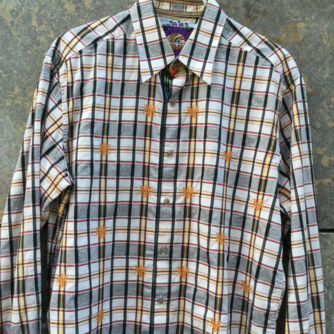Grey Taupe-Yellow Lentils Cotton Robert Graham Shirt Embroidered Size M/L