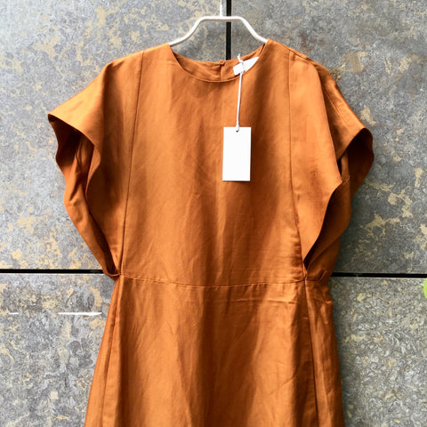 Tan Linen Mix COS Smock Dress Pleated Size XS/S