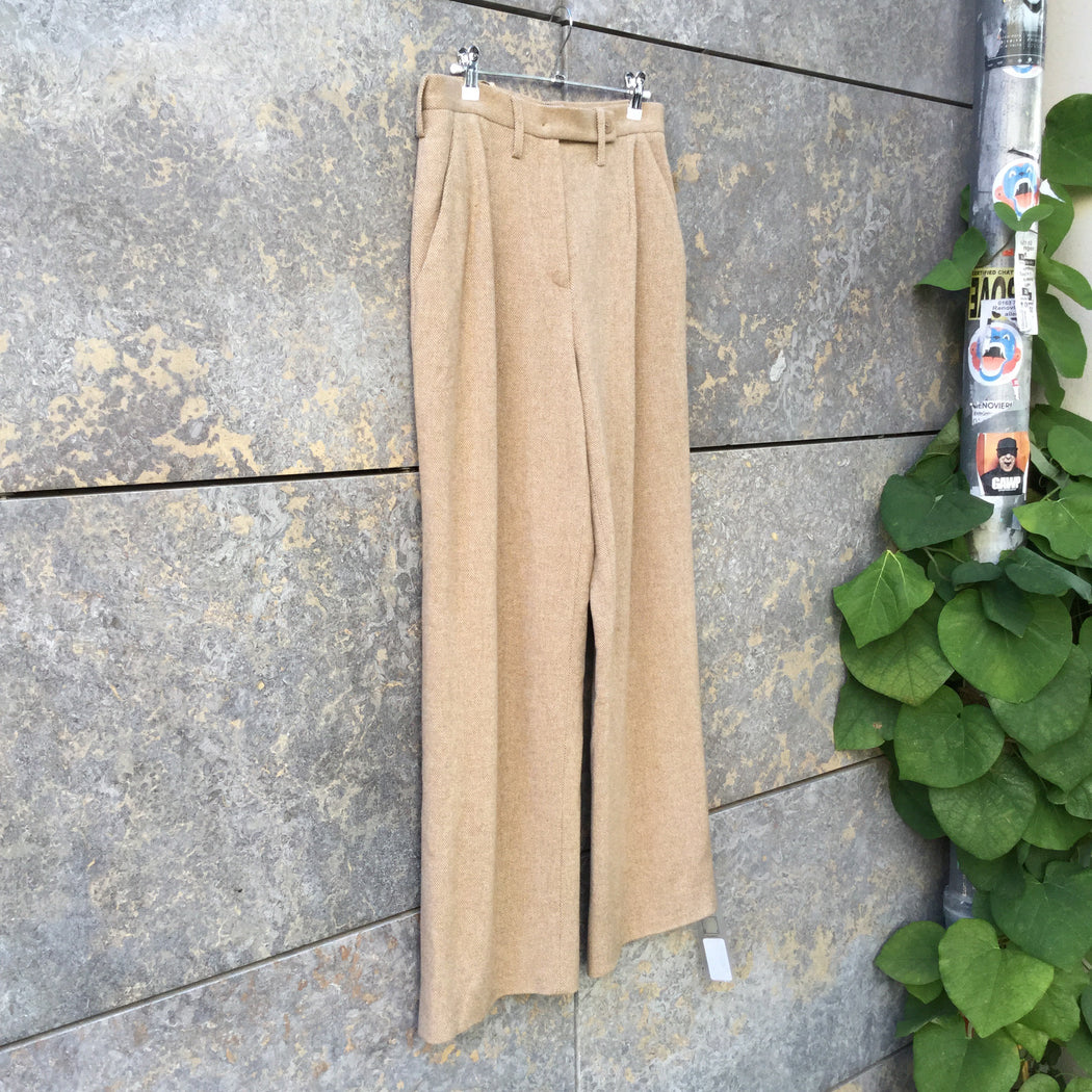 Beige-White Wool Mix Contemporary Designer High Waist Pants Wide Leg Size 30/31