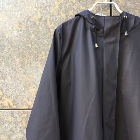 Midnight Blue Nylon Contemporary Rain Coat Extended Size M/L