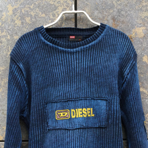 Blue-Black Cotton Diesel Light Sweater  Size L