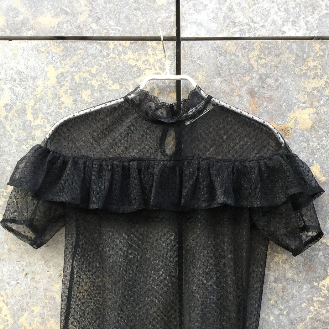 Black Polyester Modern Contemporary Main Top SS Sheer Size Xs/S