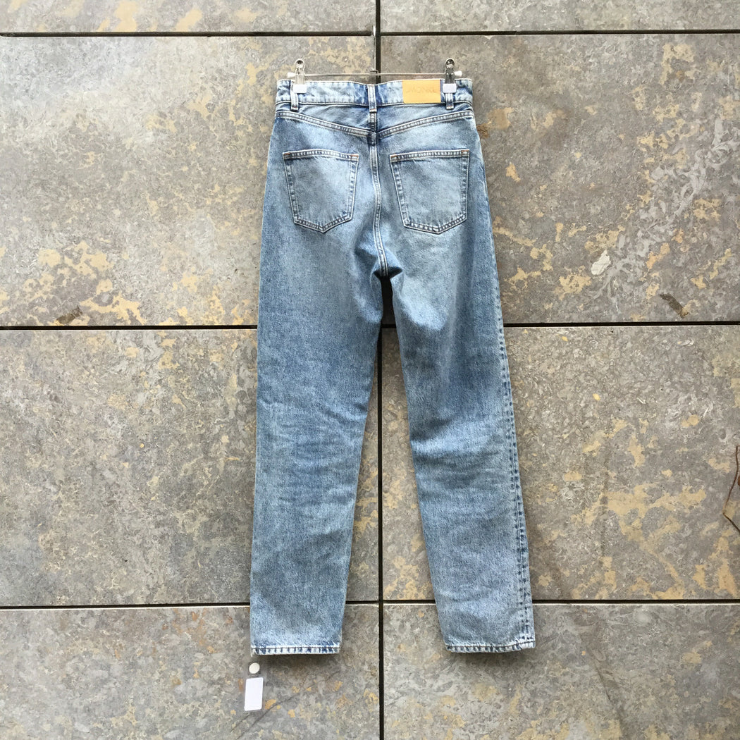 Blue Grey Denim Monki High Waist Jeans Straight Leg Size 26/27