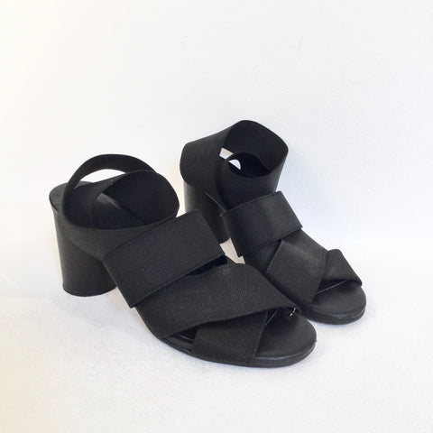 Black Wood COS Sandal Heels Straps Fat Heel Size 38