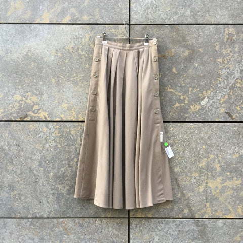 Grey Taupe Cotton Mix Vintage Maxi Skirt Pleated Size 26/27