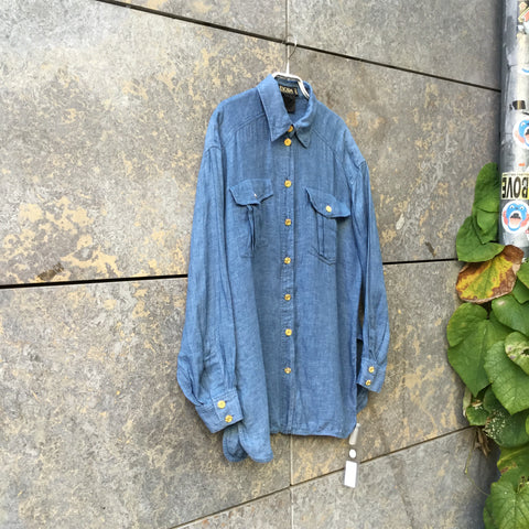 Sky-Gold Linen Escada Shirt Special Button Size M/L