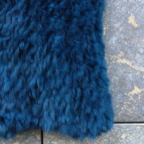 Petrol Fur Contemporary Winter Scarf  Size Os
