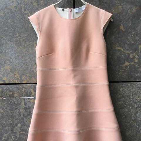 Pastel Pink-White Rayon Sandro Cocktail Dress Sleeveless Shoulder Detail Size S/M