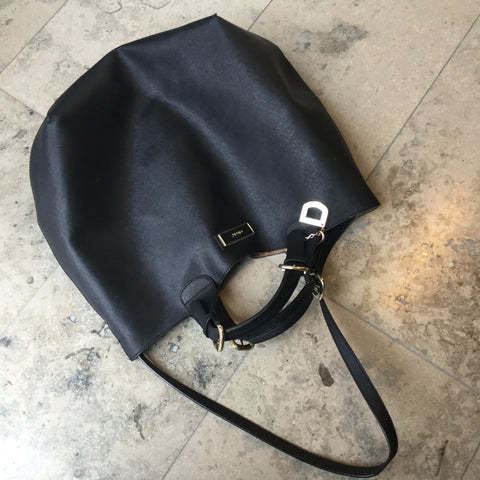 Black-Gold Leather Dkny Shoulder Bag