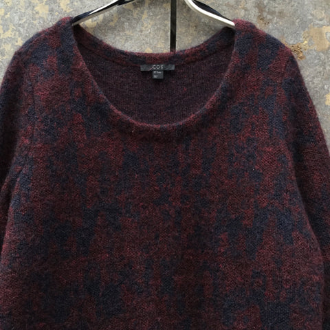 Wine-Midnight Blue Mohair Mix COS Sweater Dress Wide Neck Size M/L