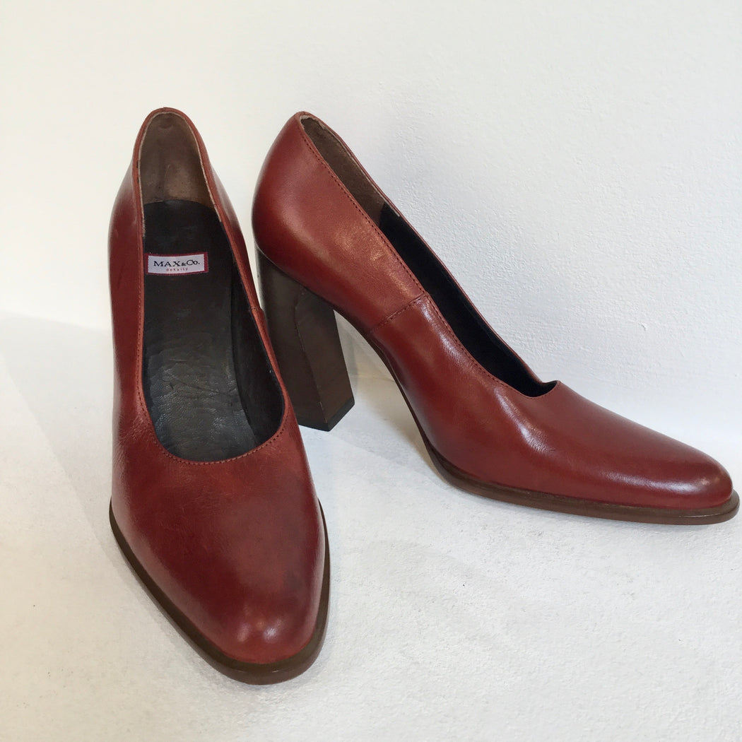 Chestnut Leather Max&co Pumps Heels Fat Heel Size 38