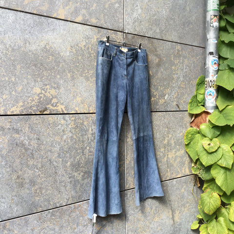Heather Blue Suede Michael Kors Flare Pants  Size 28/29