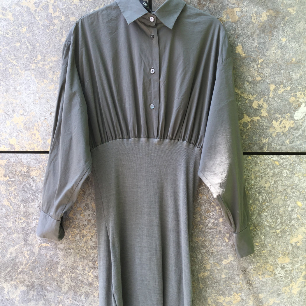 Grey Taupe Wool Mix Vintage Shirt Dress  Size M/L