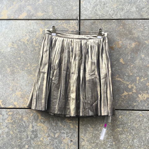 Gold-Black Silk Mix Tory Burch Mini Skirt Pleated Size 25/26
