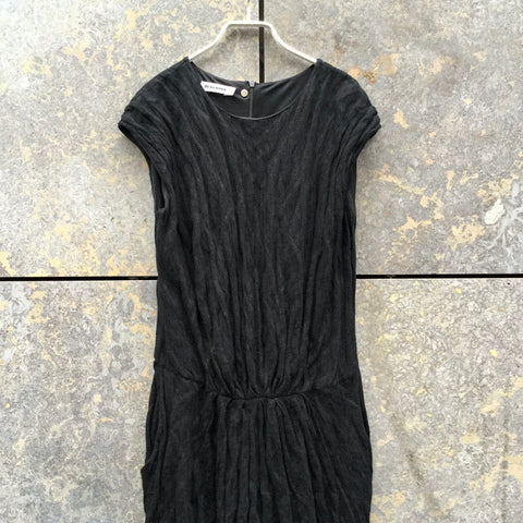 Black Cotton / Rayon Mix Jil Sander Maxi Dress Ruched Metallic Size XL/XXL