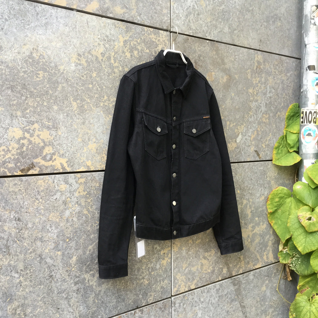 Black Denim Nudie Jeans Jeans Jacket Stitching Detail Size S/M