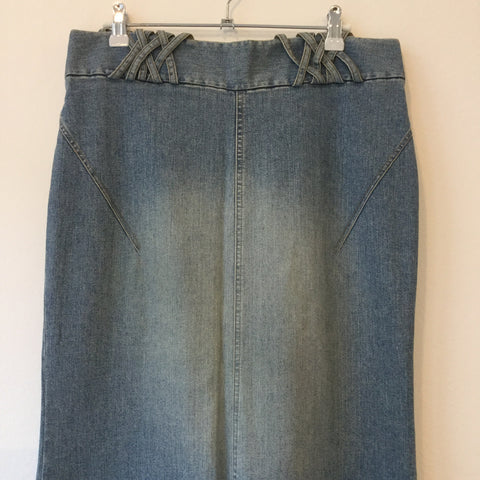 Pale Denim Blue Denim Hennes Jeans Skirt Slit Panel Elongated Size 28/29