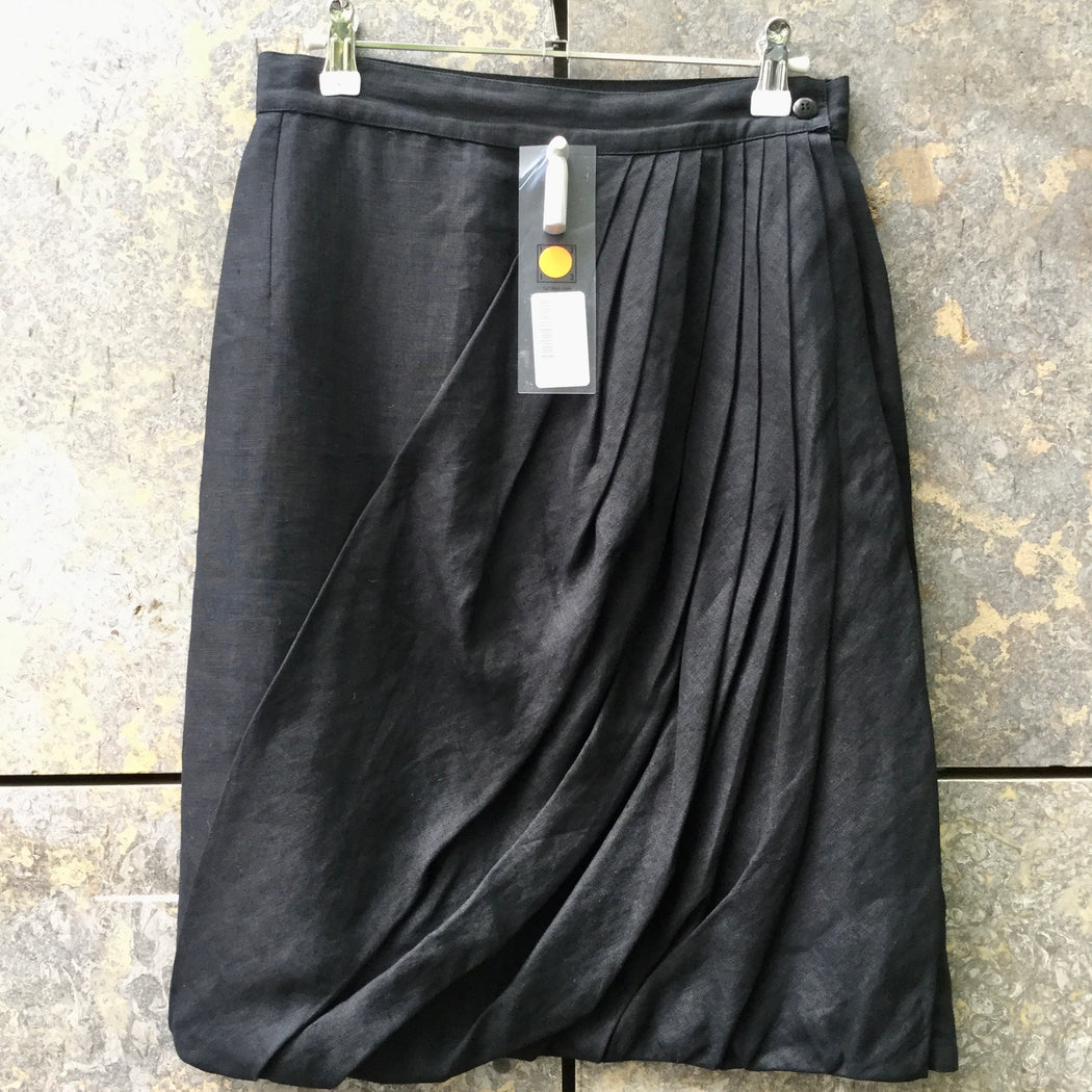 Black Linen Versace Midi Skirt Pleated