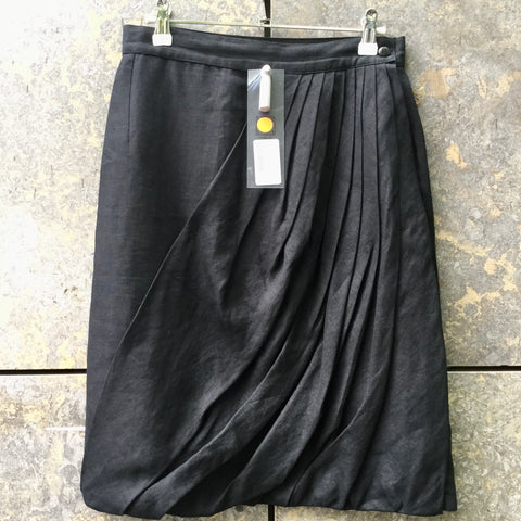 Black Linen Versace Midi Skirt Pleated Size 28/29