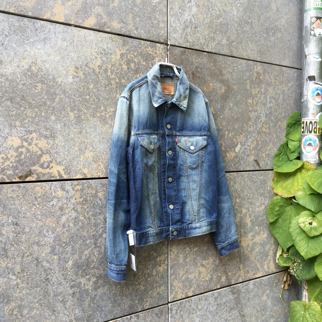 Navy Denim Levi's Jeans Jacket Destroyed Size S/M